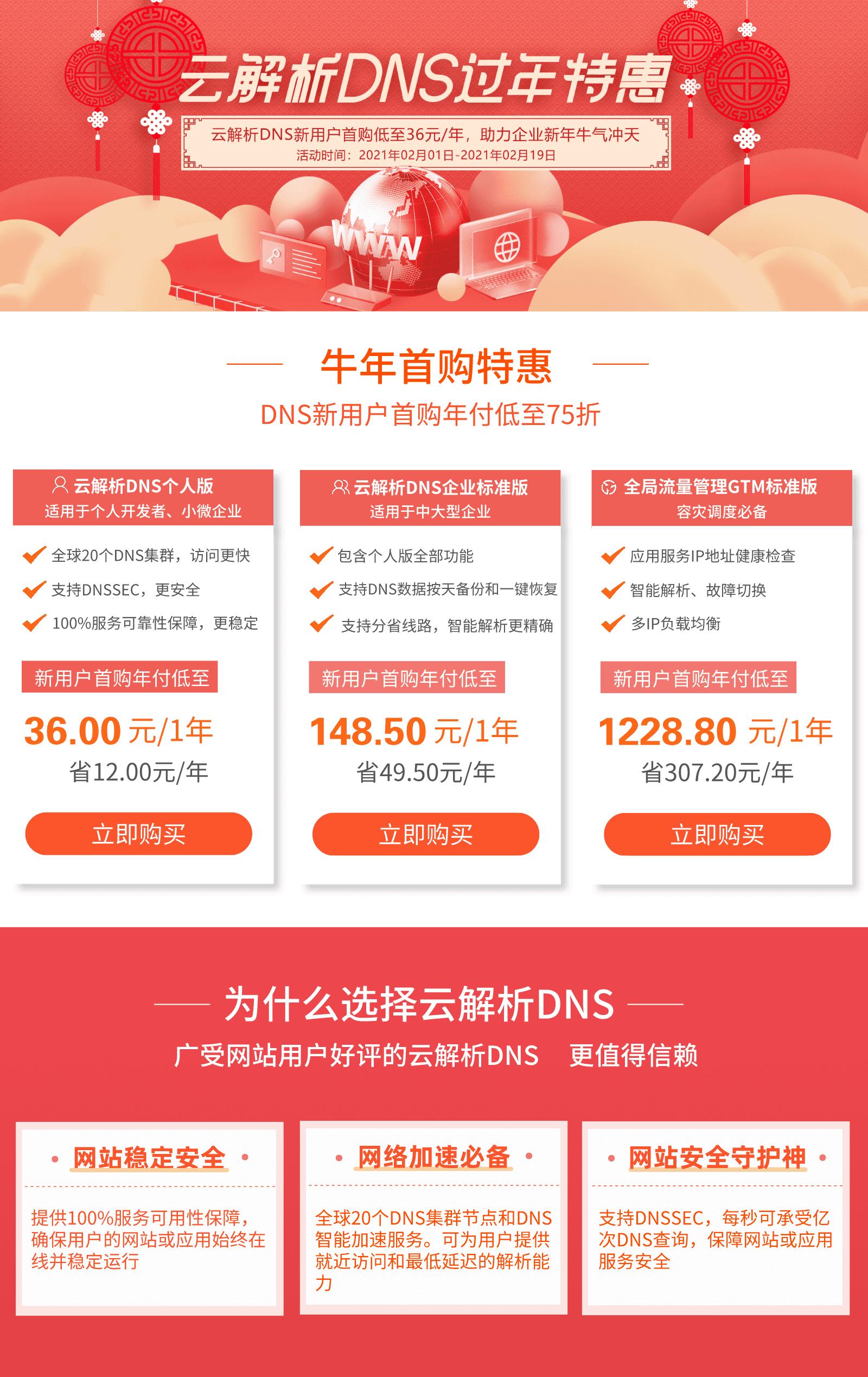 【DNS过年特惠】爆品低至36元/年,助力企业牛年业务牛气冲天!