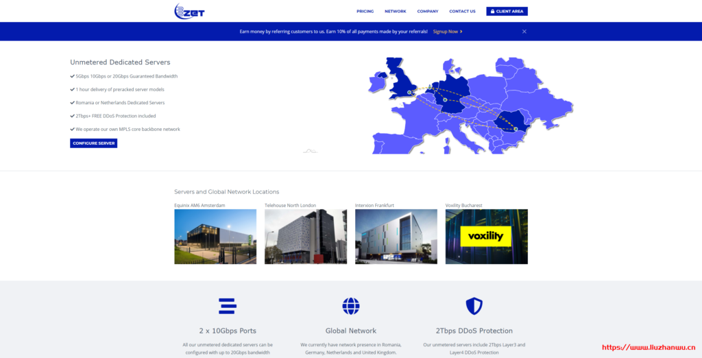 ZetServers:10Gbps/不限流量/免费2Tbps的防御/罗马尼亚机房/内容宽松/月付€10起-国外主机测评