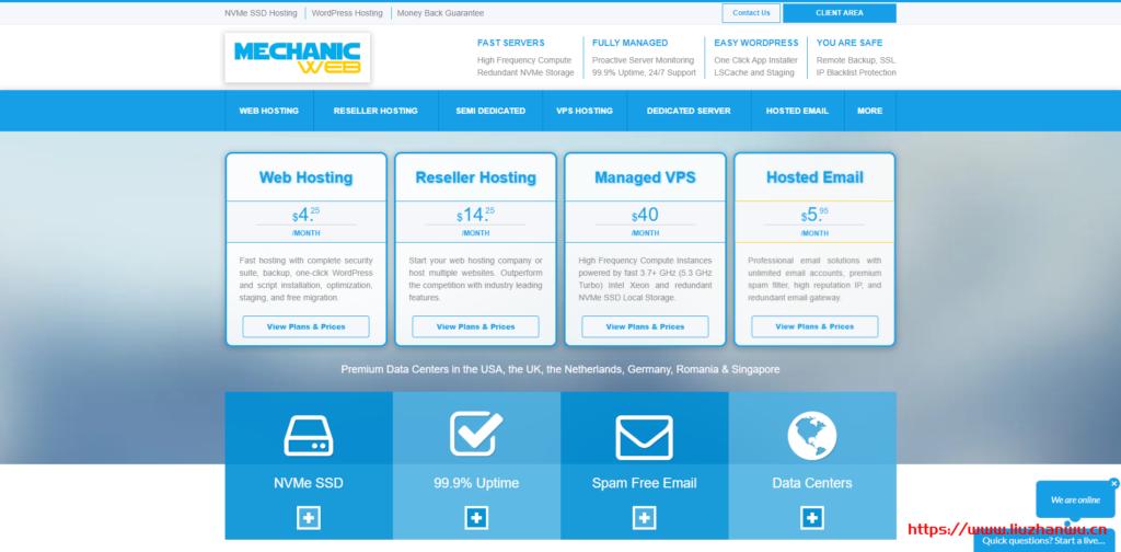 MechanicWeb:新加坡/洛杉矶等虚拟主机,10GB NVMe空间,100GB月流量,月付3.4美金-国外主机测评